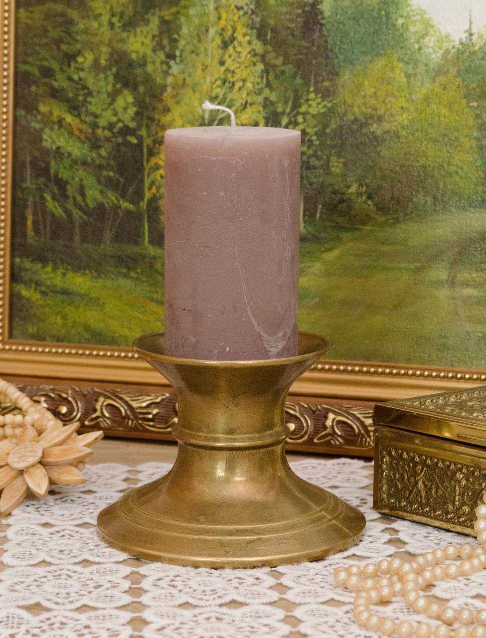 Старый подсвечник под пеньковую свечу, бронза, литье, Германия
