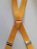 Мужские подтяжки желтого цвета узкие, фото 2