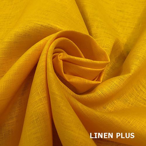 Желтая льняная ткань, цвет 260