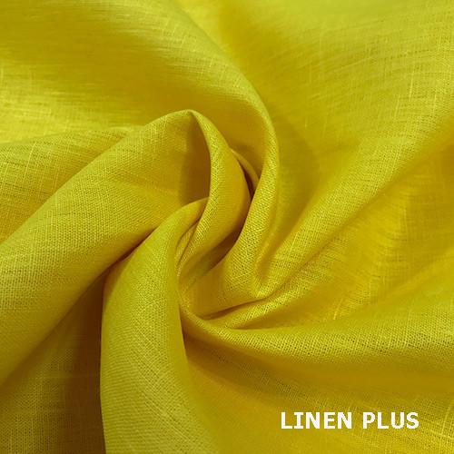 Лимонная льняная ткань, цвет 495
