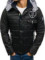 Мужская стеганная спортивная  куртка с капюшоном евро-зима