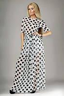 Платье 129 шифон белое в чёрный горох