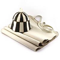 Набор для сауны светло-серый XXL (коврик+шапка клетка) ПРО