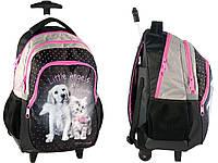 Рюкзак школьный на колесах с собакой и кошкой PASO RHG-997