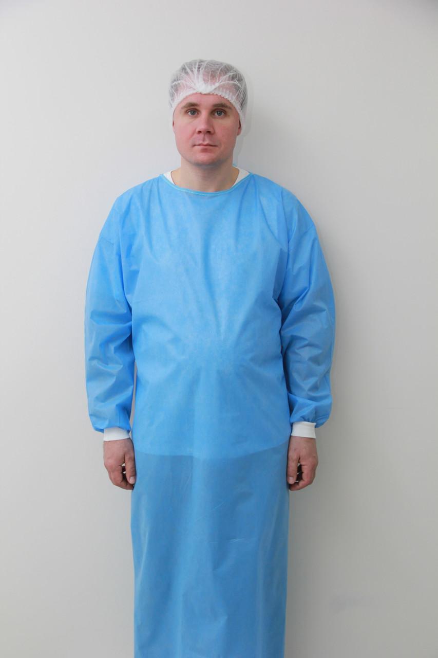 Халат хірургічний на зав'язках з рукавом з манжетом розмір XL, уп 5 шт