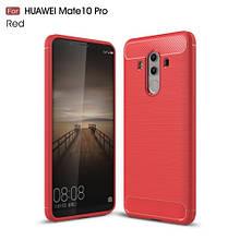 Чехол накладка TPU Fiber Carbon для Huawei Mate 10 Pro красный