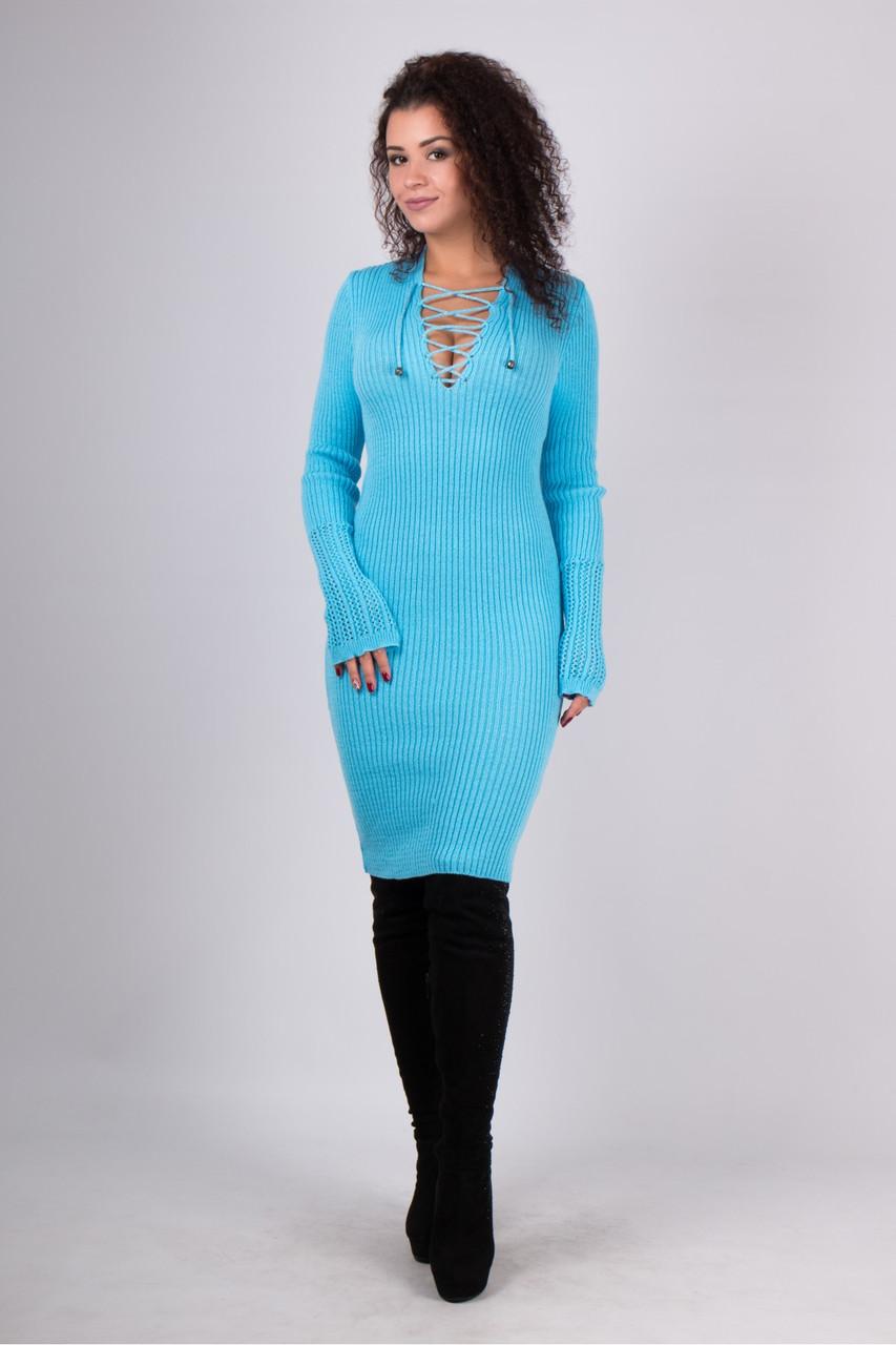 Вязаная женская туника, платье Рианна, голубой