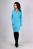 Вязаная женская туника, платье Рианна, голубой, фото 1