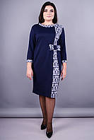 Украина.Магазин одежда Красивое платье большой размер.Монако плюс сайз. Синий+орнамент.