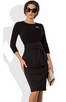 Платье-футляр с облегающим верхом из ангоры и брошкой черное