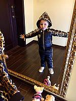 Детский костюм двойка(куртка и штаны) с леопардовыми вставками,  синтепон 150
