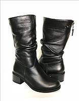 Сапоги женские зимние на каблуке из натуральной кожи черные 0366УКМ