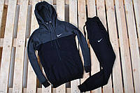 Спортивный костюм Nike утепленный черный с серым капюшоном