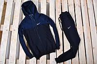 Спортивный костюм Nike утепленный черный с синим капюшоном