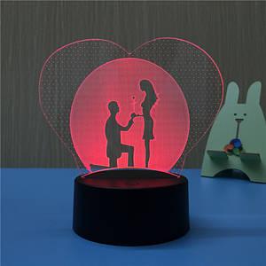 3D Светильник, 3D Ночник, Романтическая Любовь