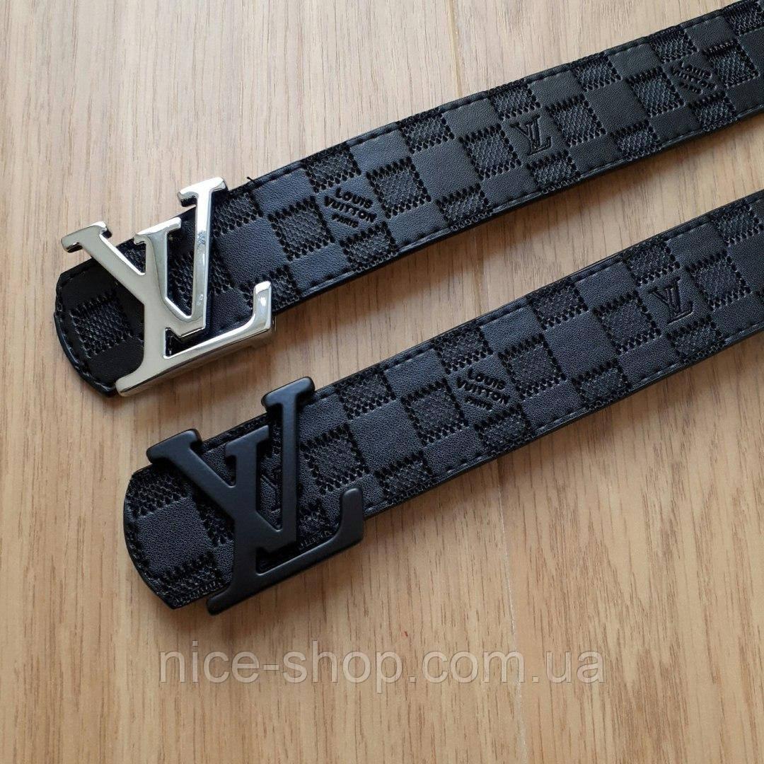 d4ea66c960e3 Ремень Louis Vuitton черный в клетку,фурнитура-черная - Nice shop - Сумки  Косметика