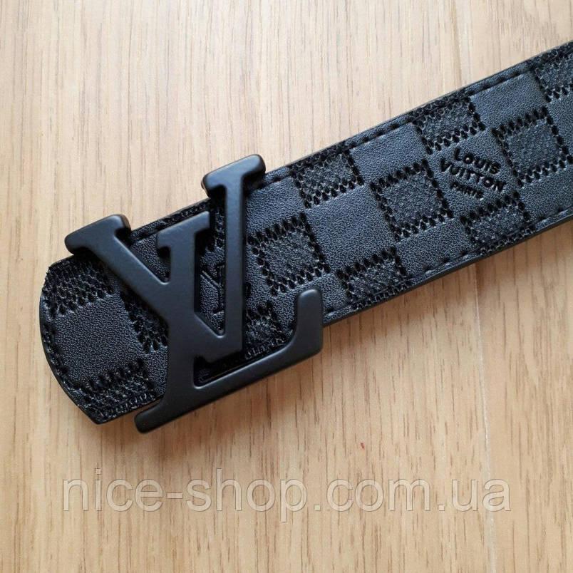 Ремень Louis Vuitton черный в клетку,фурнитура-черная, фото 2
