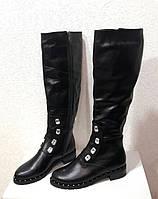 Сапоги женские высокие зимние кожаные натуральные на низком каблуке черные 0508УКМ