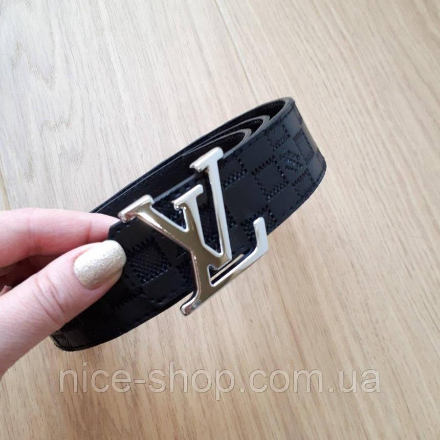 Ремень Louis Vuitton черный в клетку,фурнитура-под серебро, фото 2