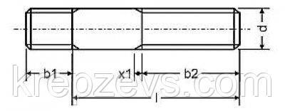 Схема габаритных размеров шпильки DIN 938
