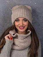 "Зимний женский набор шапка+снуд ""Ушки"" лён и светло серый"