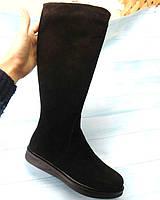 Сапоги женские Allure демисезонные/зимние замша/кожа натуральная без каблука черные 0119АЛМ