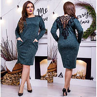 Шикарное платье большго размера с кружевной спинкой (48-58) 6 цветов