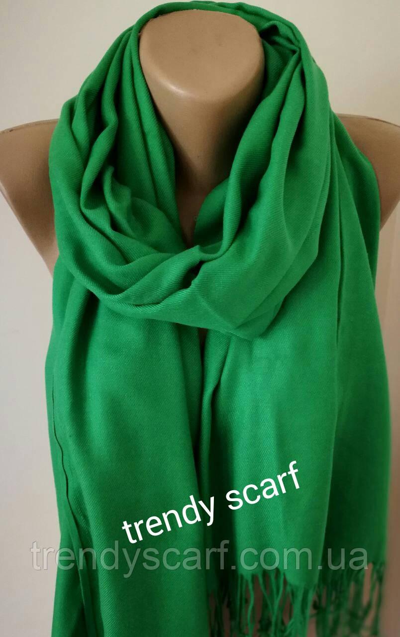 Женский палантин шарф однотонный. Зеленый. Травяной.  Кашемир 180/80