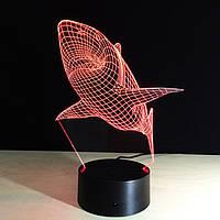 3D Светильник, 3D Ночник, 3D лампа «Акула»