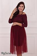 Роскошное платье для беременных и кормящих мам ELEONOR, бордо, фото 1