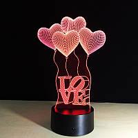 3D Светильник, Сердечки Любовь. Полный ассортимент смотрите ниже