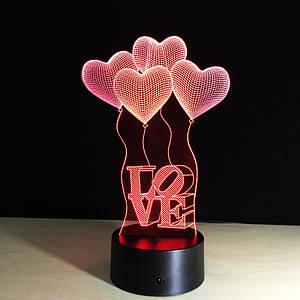 3D Светильник, Сердечки Любовь