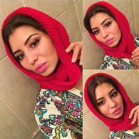 Женский шарф снуд  на шею  цвет красный