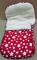 Конверт в санки и коляску на овчине 2 в 1. Конверт+вкладыш красный со звездами