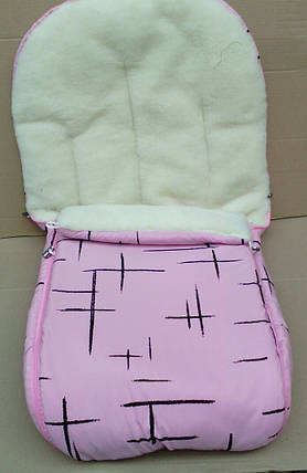 Конверт в санки и коляску на овчине 2 в 1. Конверт+вкладыш розовый, фото 2