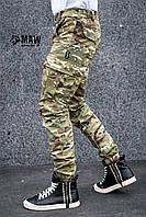 Брюки мужские милитари мультикам Cargo MAN AND WOLF street wear рип-стоп (50/50)