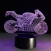 3D Светильник, 3D Ночник, 3D лампа  «Мотоцикл»