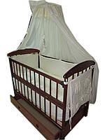 Акция! Комплект: кроватка маятник Наталка, ящик, матрас кокос, постель 8 эл.