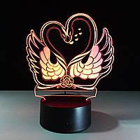 3D лампа Влюбленные лебеди,