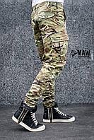 Штаны карго мужские милитари мультикам Cargo MAN AND WOLF street wear рип-стоп (50/50)