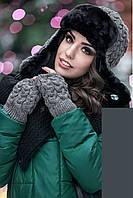 Женская зимняя вязаная шапка с митенками на флисе, женские вязаные шапки с митенками оптом от производителя
