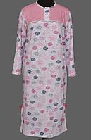 Теплая длинная ночная сорочка женская (ночнушка) хлопковая с начесом байковая пижама