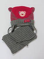 Детский комплект Мишка(шапка+шарф) для девочек Raster Польша 46-48р