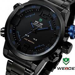 Мужские часы WEIDE Sport Watch BlackBlue, кварцевые, ВЕЙДЕ стальные синяя кнопка, реплика отличное качество!