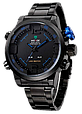 Мужские часы WEIDE Sport Watch BlackBlue, кварцевые, ВЕЙДЕ стальные синяя кнопка, реплика отличное качество, фото 2
