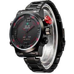 Мужские часы WEIDE Sport Watch BlackRed, кварцевые, ВЕЙДЕ стальные красная кнопка, реплика отличное качество!