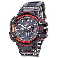 Электронные часы Casio G-Shock GW A1100 Black Red, спортивные часы Джи Шок(черно-красные)