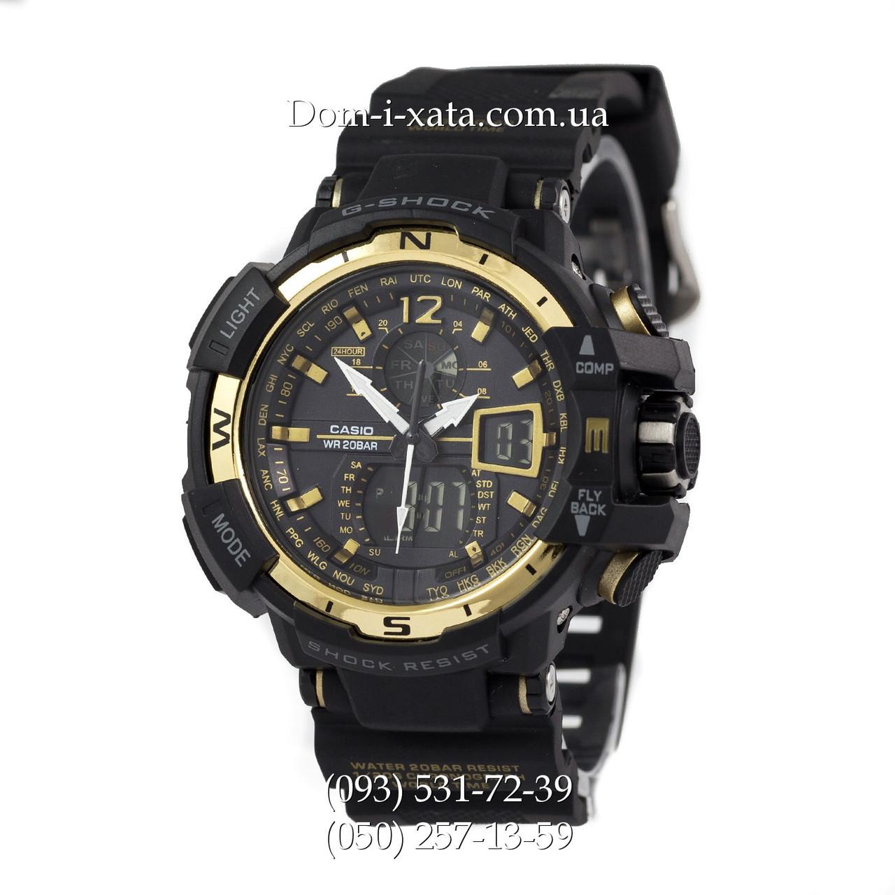 Электронные часы Casio G-Shock GW A1100 Black Gold, спортивные часы Джи Шок(черно золотистые), реплика отличное качество!