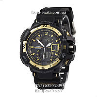 Электронные часы Casio G-Shock GW A1100 Black Gold, спортивные часы Джи Шок(черно золотистые)