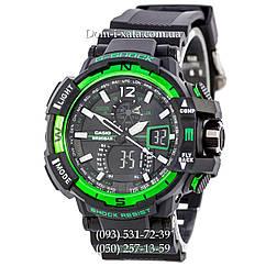 Электронные часы Casio G-Shock GW A1100 Black Green, спортивные часы Джи Шок(черно-зеленые), реплика отличное качество!